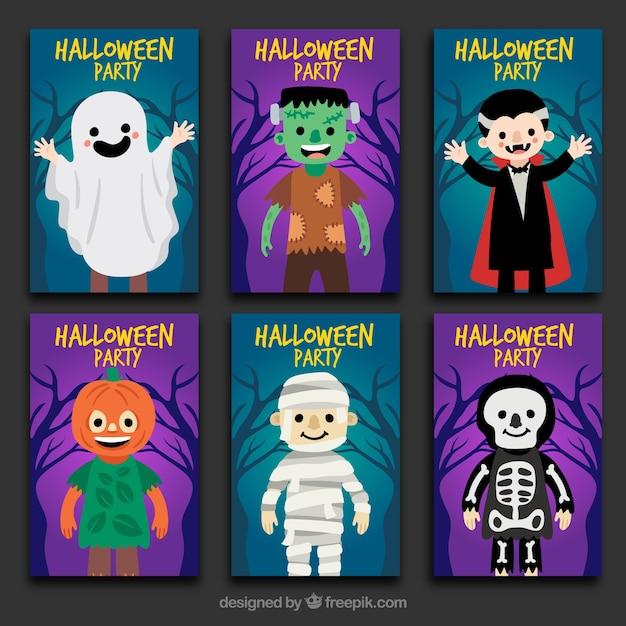 Six halloween cards