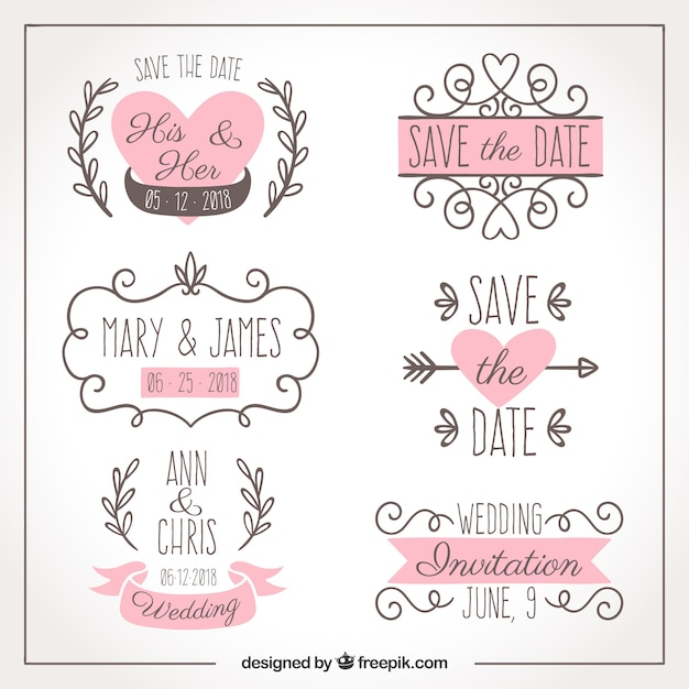 Six hand drawn wedding labels Free Vector