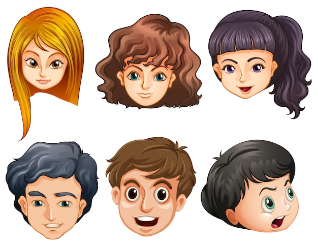Six heads of people Free Vector