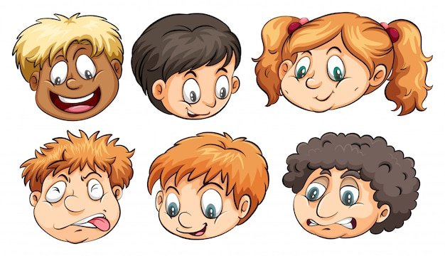 Шесть голов с разными эмоциями Бесплатные векторы
