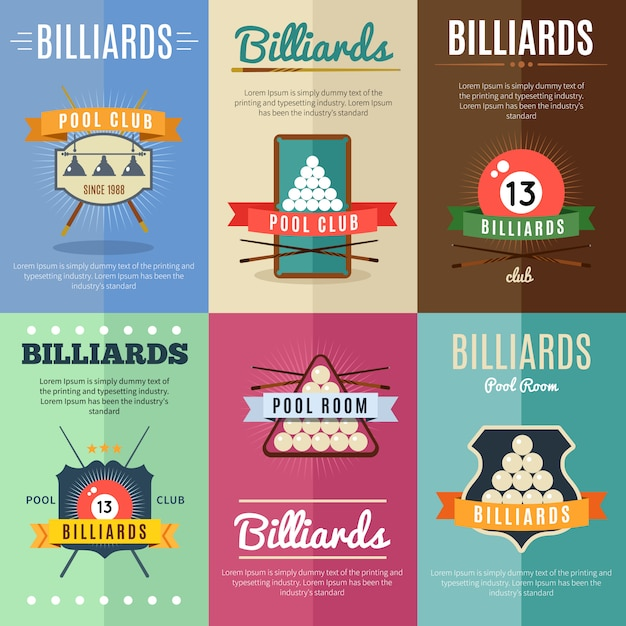 Шесть горизонтальных бильярдных плакатов с лентами и большими бильярдными и клубом Бесплатные векторы