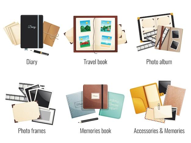 Шесть отдельных композиций воспоминаний, книги, дневники, фотоальбомы, путешествия, фоторамки, мультфильмы Бесплатные векторы