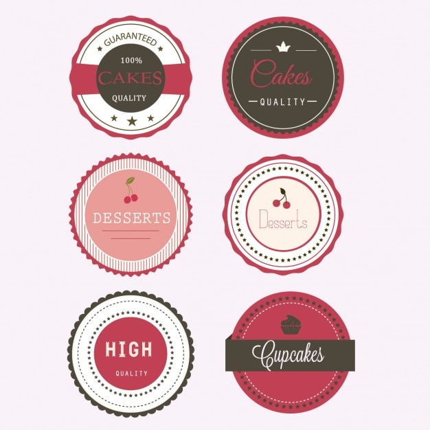 Six labels for desserts Free Vector