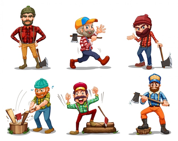 Six men with axes Free Vector