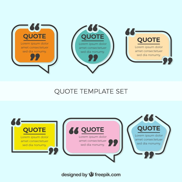 six modern quote templates vector free download
