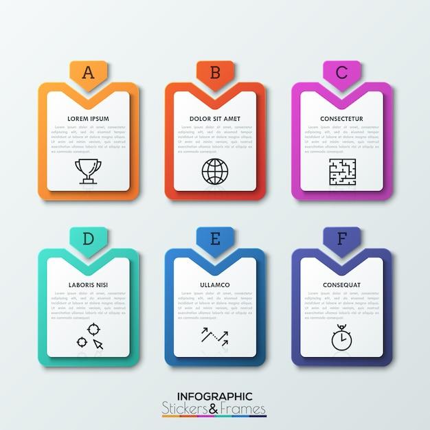 Шесть разноцветных прямоугольных тегов со стрелками, указывающими на них, с текстовыми полями и тонкими линиями внутри. Premium векторы