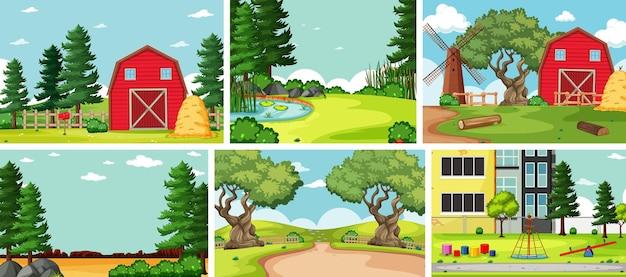 場所の異なる6つの自然シーン 無料ベクター