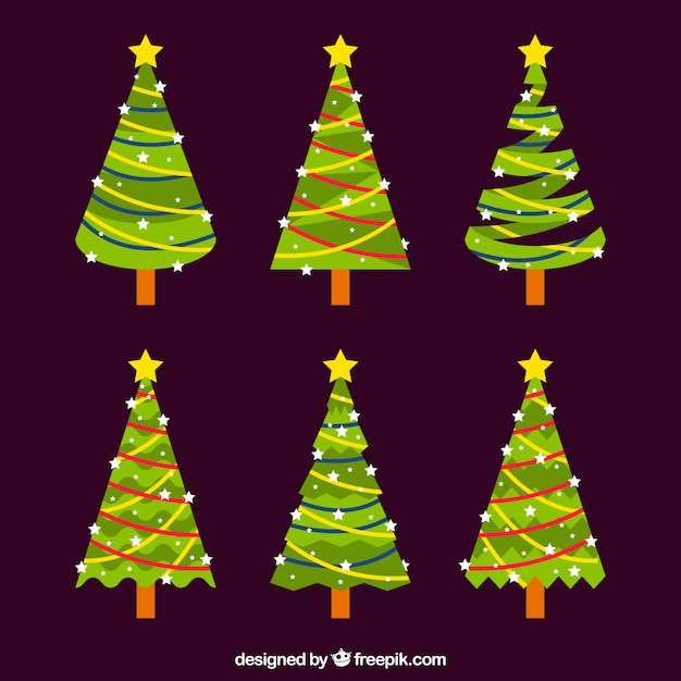 Six nice christmas trees on a brown background