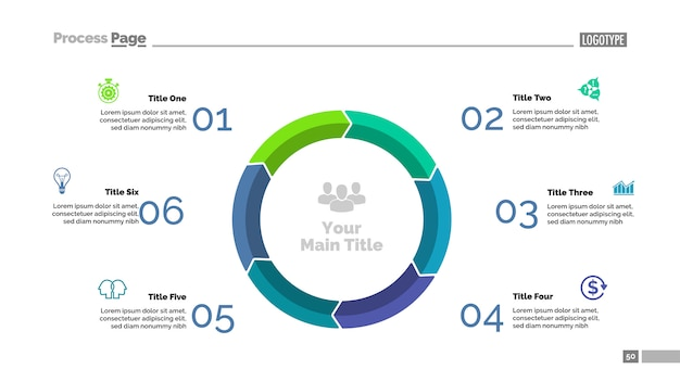6段階のサイクルダイアグラムスライドテンプレート。ビジネスデータ。グラフ、チャート 無料ベクター