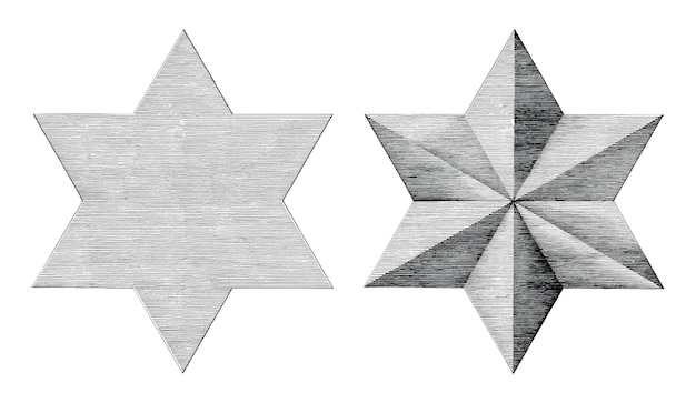 Six pointed star hand draw vintage style black and white Premium Vector