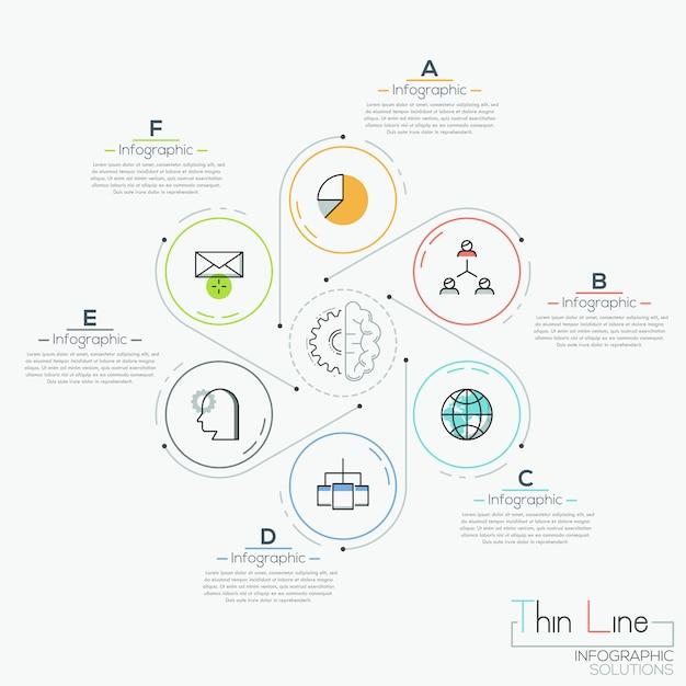 Six round elements with icons Premium Vector