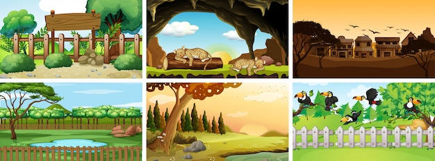 Six scenes with animals in park Free Vector