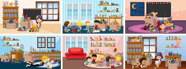 Six scenes with children playing in the room illustrations Free Vector