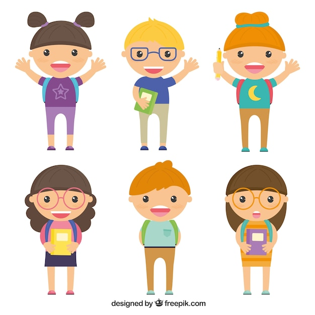 Six schoolkid characters