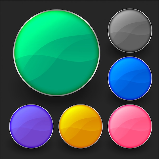 Six shiny empty circular buttons pack Free Vector