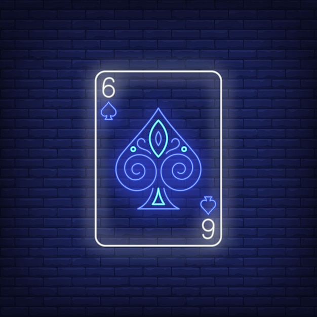 Six of spades playing card neon sign. Free Vector