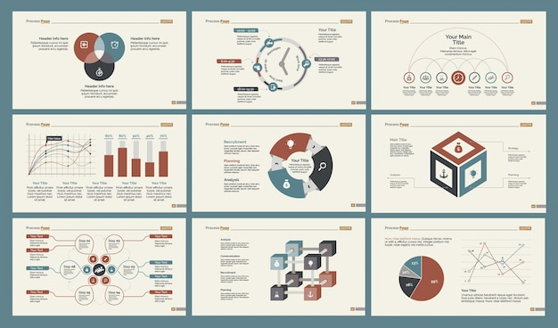 six statistics slide templates set vector free download