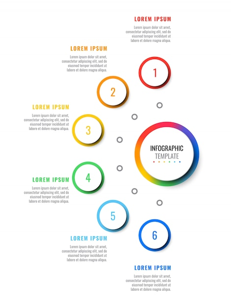 Six steps  layout infographic template with round 3d realistic elements. process diagram for brochure, banner, annual report Premium Vector