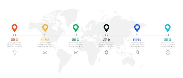 6つのステップのタイムラインまたはマイルストーンインフォグラフィックテンプレート 無料ベクター