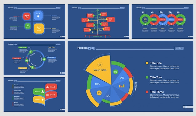 six strategy presentation templates set vector free download