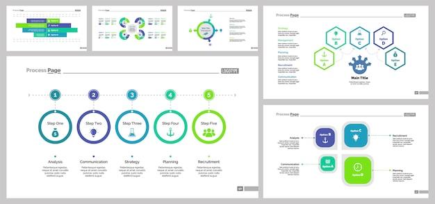 Six teamwork slide templates set Free Vector