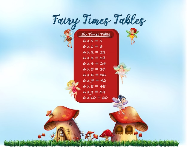 Six times tables fairy theme Free Vector