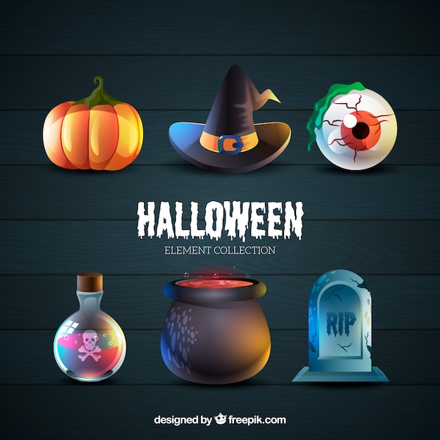 Six typical attributes of halloween Free Vector