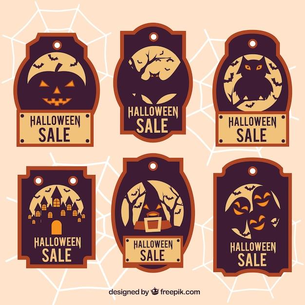 Six vouchers for halloween Free Vector