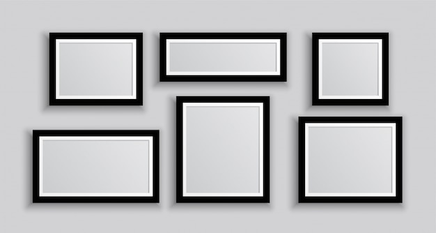 Six wall photo frames in different sizes Free Vector