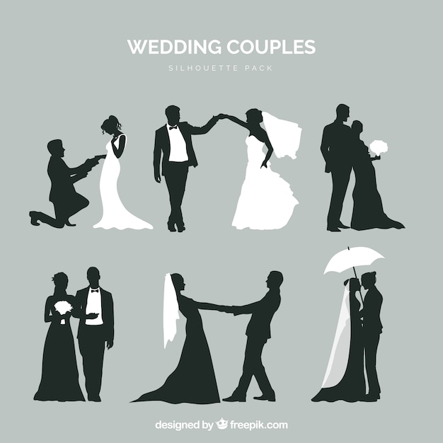 Six wedding couples in silhouette Free Vector