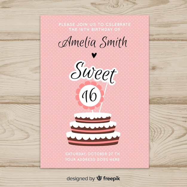 Sixteen Birthday Cake Toppers Invitation Template Vector