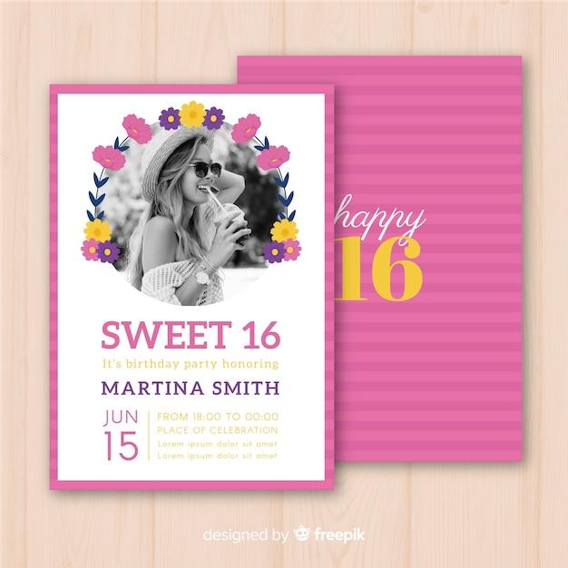 Sixteen Birthday Flower Circle Invitation Template Free Vector