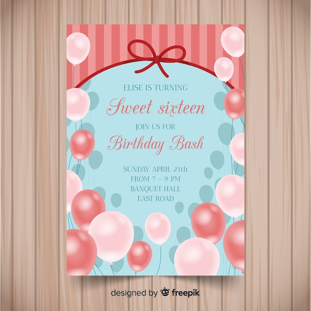 Sixteen Birthday Realistic Balloon Invitation Template Free Vector
