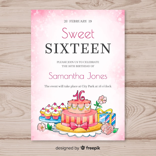 Sixteen birthday watercolor cake template Free Vector