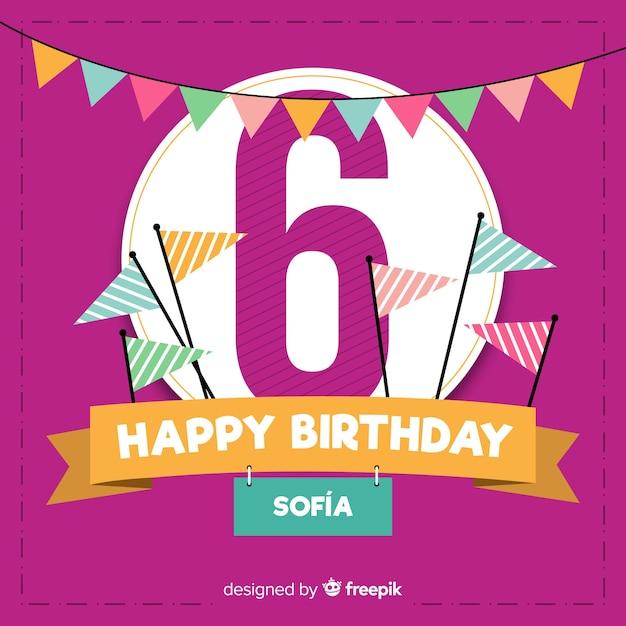 Sixth Birthday Party Invitation Card Free Vector