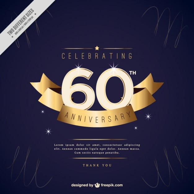 Sixty Anniversary Invitation With Golden Ribbon Vector Premium