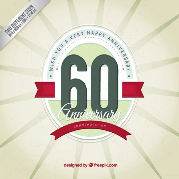 Sixty anniversary vintage background Free Vector