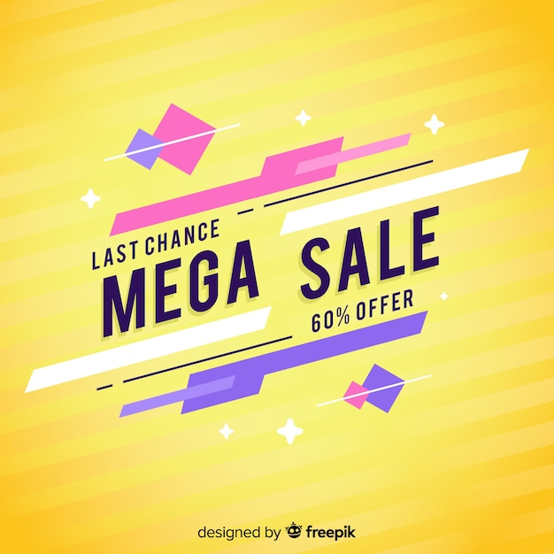 Sixty percent discount abstract sales banner Free Vector