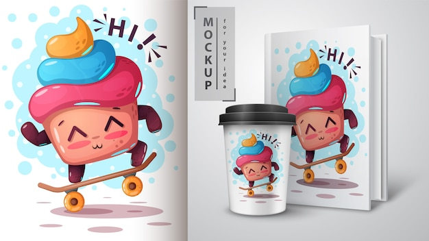 Skate cake and merchandising Premium Vector