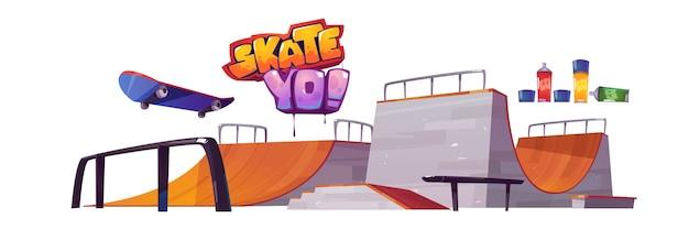 白い背景で隔離のスケートパークのランプ、スケートボード、落書きの文字。ローラーボードのトラックとスタジアムのベクトル漫画セット。極端なスポーツ活動のための遊び場 無料ベクター