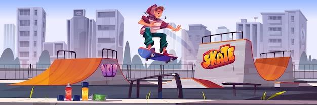 スケートボードに乗っている男の子とスケートパーク。ランプ、壁に落書き、描画用のエアロゾル、ティーンエイジャーがトラックにジャンプするベクトル漫画の街並み。極端なスポーツ活動のための遊び場 無料ベクター