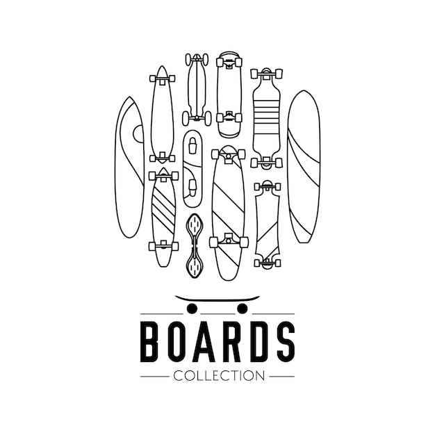 Skateboard and skateboarding collection\ background with skateboards located on a circle