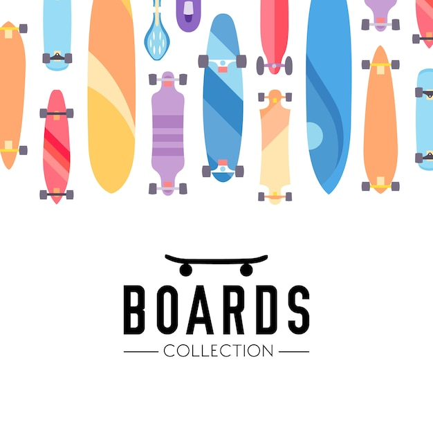 Skateboard and skateboarding collection\ background with skateboards