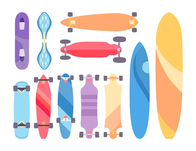 Skateboard and skateboarding set collection\ background with skateboards
