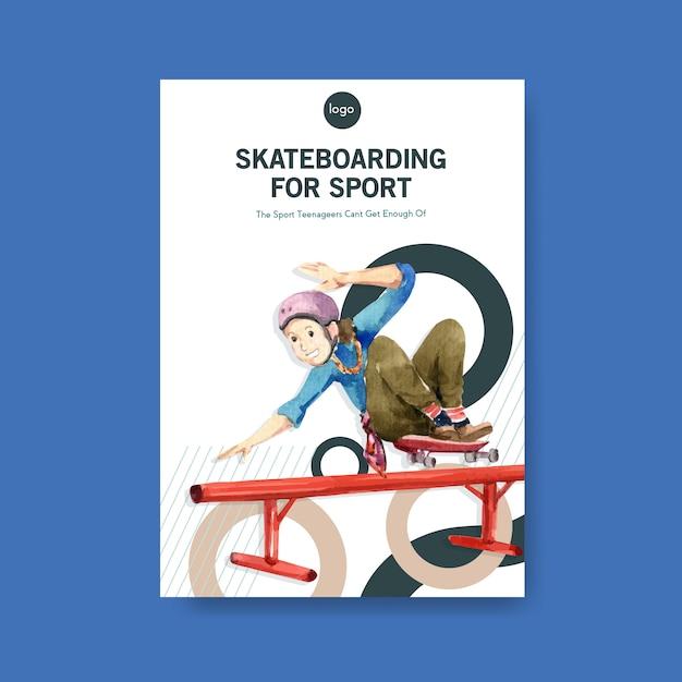 スケートボードデザイン概念ベクトルイラスト。 無料ベクター