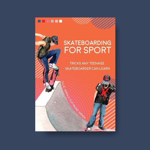 スケートボードイラストデザイン概念ベクトルイラスト。 無料ベクター