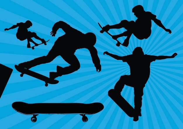 Skateboard Silhouette Vectors Free Vector