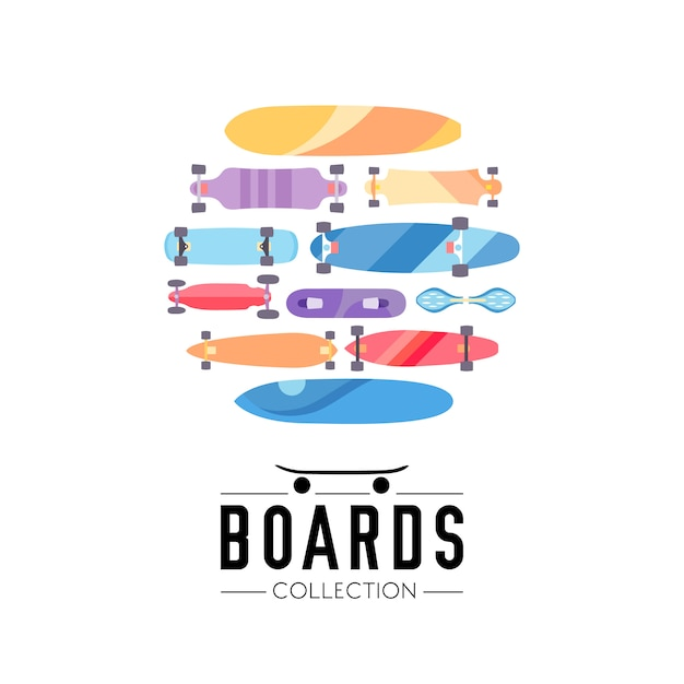 Skateboard and skateboarding collection background with skateboards located on a circle Free Vector
