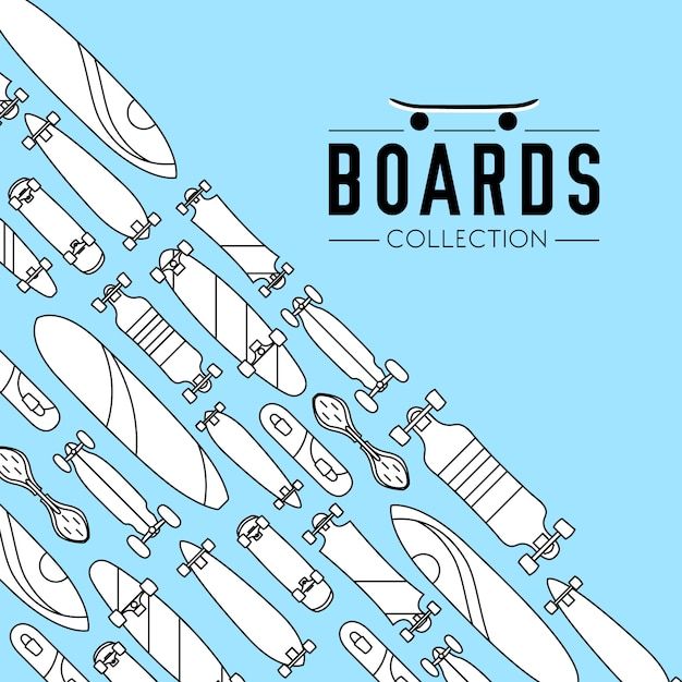 Skateboard and skateboarding collection background with skateboards Free Vector