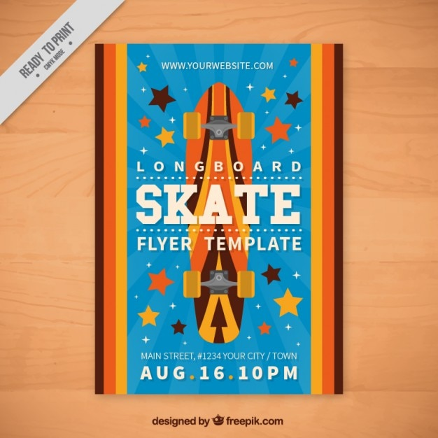 Skateboard sport flyer in flat design
